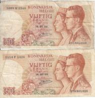 Belgique - Lot 2 Billet 50 Francs Frank (Baudouin Fabiola 1966) (5) - [ 2] 1831-... : Royaume De Belgique