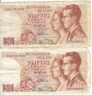 Belgique - Lot 2 Billet 50 Francs Frank (Baudouin Fabiola 1966) (6) - [ 2] 1831-... : Royaume De Belgique