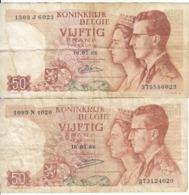 Belgique - Lot 2 Billet 50 Francs Frank (Baudouin Fabiola 1966) (7) - Andere