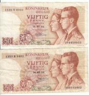 Belgique - Lot 2 Billet 50 Francs Frank (Baudouin Fabiola 1966) (8) - [ 2] 1831-... : Koninkrijk België