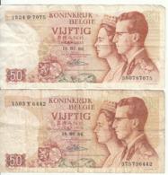 Belgique - Lot 2 Billet 50 Francs Frank (Baudouin Fabiola 1966) (9) - [ 2] 1831-... : Royaume De Belgique