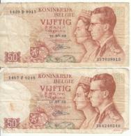 Belgique - Lot 2 Billet 50 Francs Frank (Baudouin Fabiola 1966) (10) - [ 2] 1831-... : Royaume De Belgique