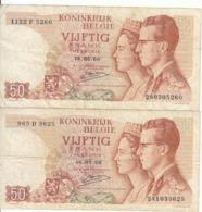 Belgique - Lot 2 Billet 50 Francs Frank (Baudouin Fabiola 1966) (11) - [ 2] 1831-... : Regno Del Belgio
