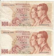 Belgique - Lot 2 Billet 50 Francs Frank (Baudouin Fabiola 1966) (12) - [ 2] 1831-... : Koninkrijk België