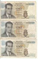 Belgique - Lot 3 Billet 20 Francs Frank (Baudouin Atomium 1964) (1) - Andere