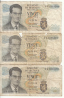 Belgique - Lot 3 Billet 20 Francs Frank (Baudouin Atomium 1964) (2) - [ 2] 1831-... : Royaume De Belgique