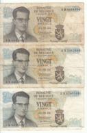 Belgique - Lot 3 Billet 20 Francs Frank (Baudouin Atomium 1964) (3) - [ 2] 1831-... : Royaume De Belgique