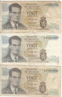 Belgique - Lot 3 Billet 20 Francs Frank (Baudouin Atomium 1964) (4) - Andere