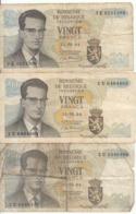 Belgique - Lot 3 Billet 20 Francs Frank (Baudouin Atomium 1964) (5) - [ 2] 1831-... : Royaume De Belgique