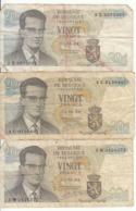 Belgique - Lot 3 Billet 20 Francs Frank (Baudouin Atomium 1964) (6) - [ 2] 1831-... : Royaume De Belgique