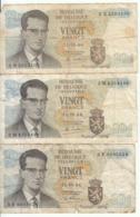 Belgique - Lot 3 Billet 20 Francs Frank (Baudouin Atomium 1964) (8) - [ 2] 1831-... : Royaume De Belgique