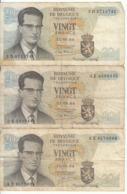 Belgique - Lot 3 Billet 20 Francs Frank (Baudouin Atomium 1964) (7) - [ 2] 1831-... : Regno Del Belgio