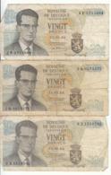 Belgique - Lot 3 Billet 20 Francs Frank (Baudouin Atomium 1964) (9) - [ 2] 1831-... : Royaume De Belgique