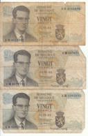 Belgique - Lot 3 Billet 20 Francs Frank (Baudouin Atomium 1964) (10) - [ 2] 1831-... : Koninkrijk België