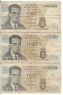 Belgique - Lot 3 Billet 20 Francs Frank (Baudouin Atomium 1964) (11) - Andere
