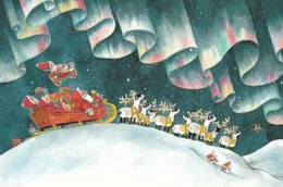 Elves - Brownies - Gnomes Driving Sleigh With Reindeer In Lapland - Northern Lights By Mauri Kunnas - Double Card - Christmas