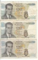 Belgique - Lot 3 Billet 20 Francs Frank (Baudouin Atomium 1964) (12) - [ 2] 1831-... : Royaume De Belgique