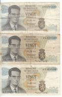 Belgique - Lot 3 Billet 20 Francs Frank (Baudouin Atomium 1964) (13) - Andere