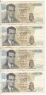 Belgique - Lot 4 Billet 20 Francs Frank (Baudouin Atomium 1964) (14) - [ 2] 1831-... : Koninkrijk België