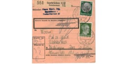 Allemagne  - Colis Postal  Départ Saarbrücken  - Pour Tedingen ( Théding )  Par Kochern ( Cocheren ) - Allemagne