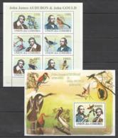 T431 2008 COMOROS COMORES FAMOUS PEOPLE BIRDS JOHN AUDUBON JOHN GOULD KB+BL MNH - Célébrités