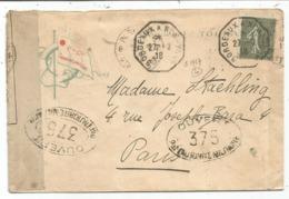 SEMEUSE 15C LIGNEE LETTRE PAQUEBOT TOURAINE C. OCTOG BORDEAUX A NEW YORK 27.2.1918 + CENSURE 375 COTE 420€ - Postmark Collection (Covers)