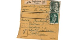Allemagne  - Colis Postal  Départ Lautenburg - Spittel  Waldheim  -   23-8-43 - Allemagne