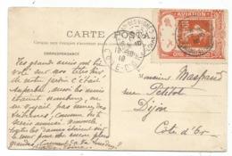 SEMEUSE 10C PORTE TIMBRE CHALON S SAONE AVIATION OCTOBRE 1910 CARTE HOPITAL - Marcophilie (Lettres)