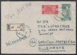 LIBAN - LEBANON - BEYROUTH - BEIRUT / 1954 LETTRE RECOMMANDEE AVION POUR L ALLEMAGNE (ref LE345) - Liban