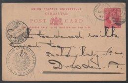 GIBRALTAR - CONSULAT D ALLEMAGNE - QV / 1897 ENTIER POSTAL  POUR L ALLEMAGNE - DRESDE (ref LE354) - Gibraltar
