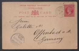 GIBRALTAR - QV / 1895 ENTIER POSTAL  POUR L ALLEMAGNE - OFFENBACH (ref LE355) - Gibraltar
