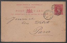 GIBRALTAR - QV / 1892 ENTIER POSTAL  POUR LA FRANCE - PARIS  (ref LE358) - Gibraltar