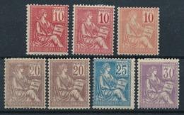 """DB-213: FRANCE: Lot Avec Type """"MOUCHON"""" Avec N°112*(3)-113*(2)-114*-115* - 1900-02 Mouchon"""