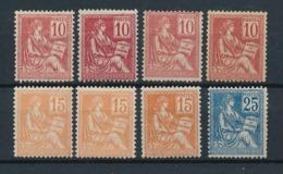 """DB-215: FRANCE: Lot Avec Type """"MOUCHON"""" Avec N°116*(4)-117(3)-118 - 1900-02 Mouchon"""