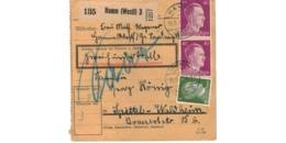 Allemagne  - Colis Postal  Départ Hamm - Spittel  Waldheim  -   19-8-43 - Duitsland