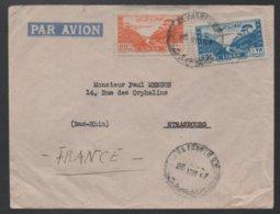 LIBAN - LEBANON - BEYROUTH - BEIRUT / 1947 LETTRE AVION POUR STRASBOURG - FRANCE  (ref LE378) - Liban