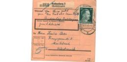 Allemagne  - Colis Postal  Départ Reichenberg   ( Sudetengau )  - 20-5-43 - Allemagne