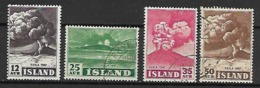 ISLANDE    -   1948  .  Y&T N° 208 * + 209 à 211 Oblitérés  .  Volcan - Usati