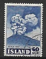 ISLANDE    -   1948  .  Y&T N° 212 Oblitéré   .  Volcan - Usati