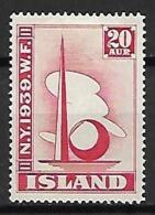 ISLANDE    -   1939  .  Y&T N° 182 *. - 1918-1944 Autonoom Bestuur