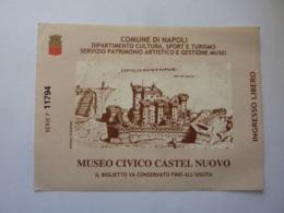 """Biglietto Ingresso """"Comune Di Napoli MUSEO CIVICO DI CASTEL NUOVO - INGRESSO LIBERO"""" - Toegangskaarten"""