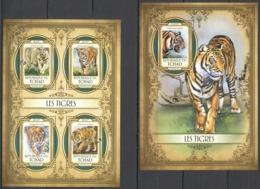 QQ778 2017 CHAD TCHAD FAUNA ANIMALS WILD CATS TIGERS TIGRES KB+BL MNH - Big Cats (cats Of Prey)