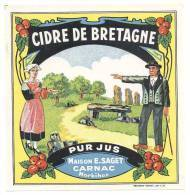 Etiquette De Cidre De Bretagne   -  E. Saget  à  Carnac  (56) - Etiquettes