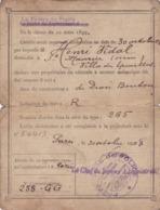 CIRCULATION  DES  AUTOMOBILES  -  RECEPISSE  DE  DECLARATION   (  CARTE  GRISE )   1908  . - Voitures