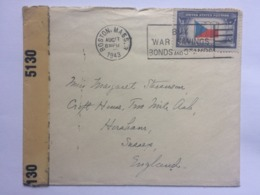USA 1943 Cover Boston To England - With Censor Label - Etats-Unis