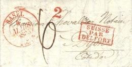 1835- Lettre De BASEL  ( Suisse )  Pour Dijon  -entrée SUISSE  / PAR / BELFORT  Encadrée Rouge - Postmark Collection (Covers)