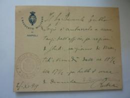 """Cartoncino Manoscritto """"L' AVVOCATO MILITARE DI NAPOLI - Tribunale Militare Di Napoli"""" 1919 - Manoscritti"""