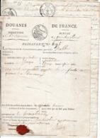 1820 DOUANES DE FRANCE - BESANÇON Pour PONTARLIER Avec Acte Notarié D'accompagnement - Cachet De Cire Rouge - Documenti Storici