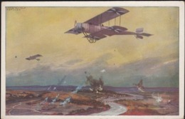 Germany 1914 - Deutscher Luftflotten-Verein Bild-Postkarte, Miltärdoppeldecker Auf Erkundungsflug An Der Marne. - Duitsland