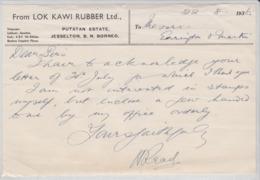 TELEGRAM FROM LOK KAWI RUBBER LTD PUTATAN ESTATE JESSELTON B.N. BORNEO KOTA KINABALU MALAYSIA TELEGRAMME MALAISIE 1936 - North Borneo (...-1963)